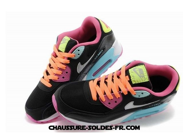 Nike Air Max 90 Star Series Femme Noir Rose Orange - Nike Air Max 90 Star Series Femme Noir Rose Orange-4
