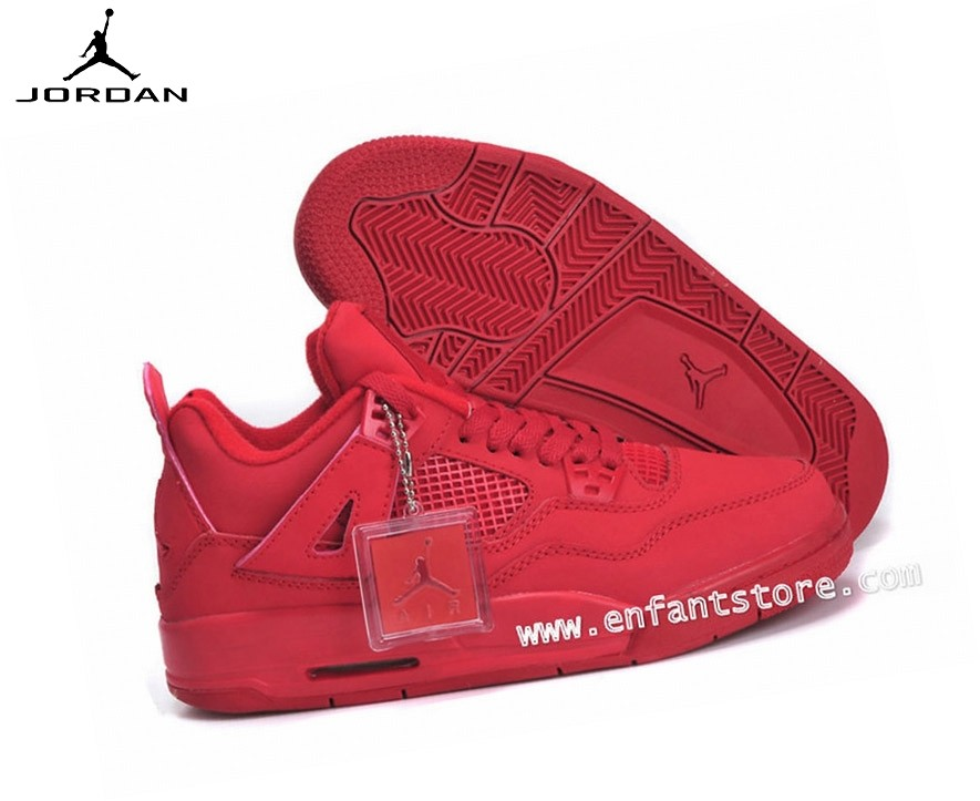 Nike Air Jordan 4/v Retro Gs Homme Sneakers Rouge - Nike Air Jordan 4/v Retro Gs Homme Sneakers Rouge-1