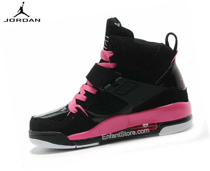 Nike Air Jordan Flight 45 High Gs Baskets Running Noir/Rose 524864-017 - Nike Air Jordan Flight 45 High Gs Baskets Running Noir/Rose 524864-017-1