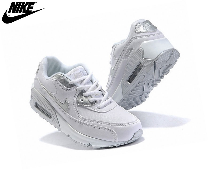 Nike Air Max 90 - Sneakers Pour Fille Officiel Nike Fille Blanc/Gris - Nike Air Max 90 Sneakers Pour Fille Officiel Nike Fille Blanc/Gris-1