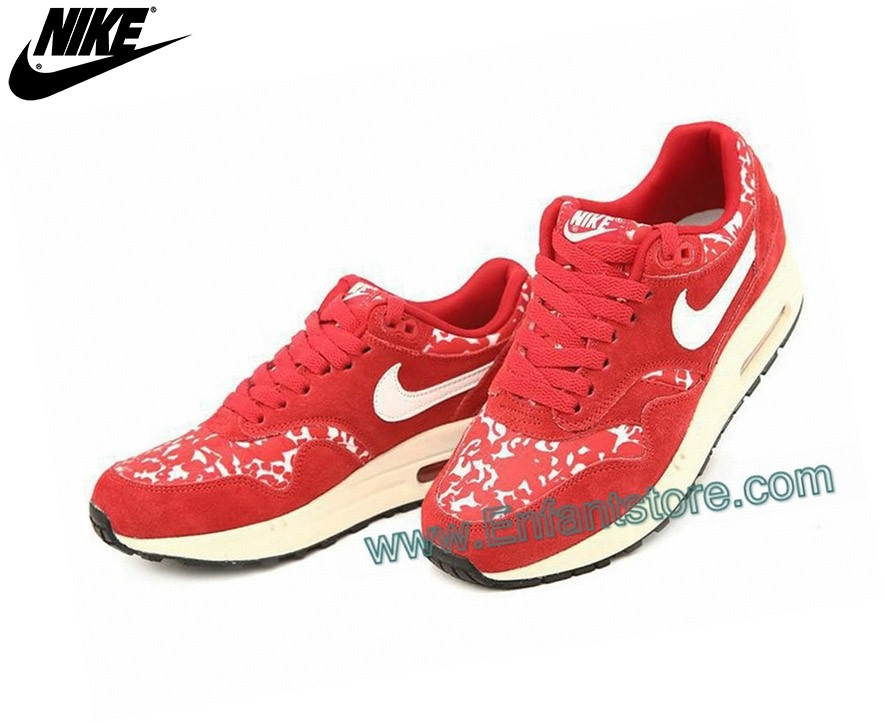 Nike Femme Sneakers Wmns Air Max 1 Paint Port Red/Sail - Sail 528898-600 - Nike Femme Sneakers Wmns Air Max 1 Paint Port Red/Sail Sail 528898-600-2