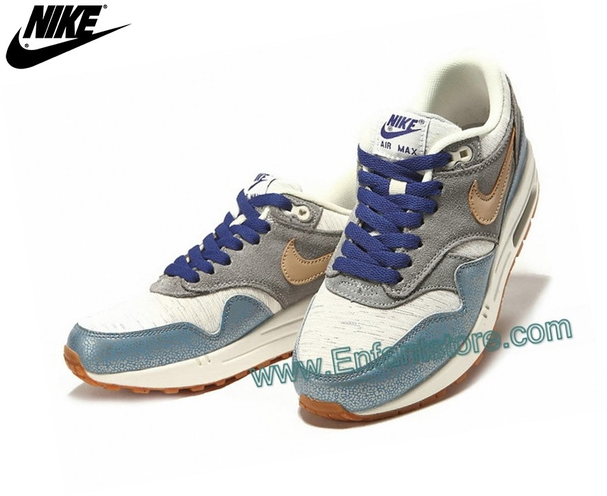 Nike Femme Sneakers Wmns Air Max 1 Paint Metallic Argent Vachetta Tan 454746-001 - Nike Femme Sneakers Wmns Air Max 1 Paint Metallic Argent Vachetta Tan 454746-001-1