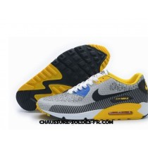 Nike Air Max 90 2014 Homme Blanc Jaune Gris Men Air Max 90