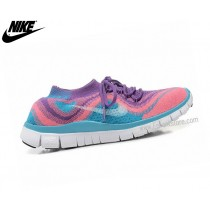 Nike Free Flyknit Chaussures Homme De Running Free Rose/Bleu 615805-Id5
