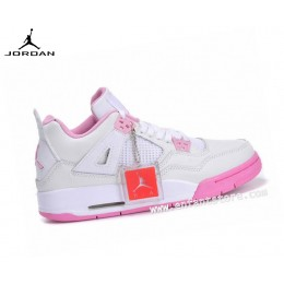 Nike Air Jordan 4/v Retro Gs Homme Sneakers Blanc/Rose