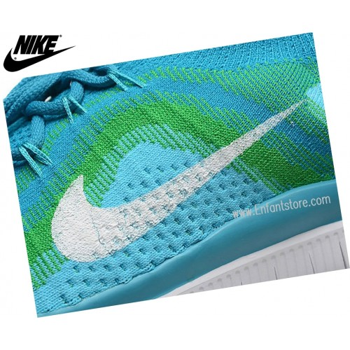 Nike Free Flyknit Chaussures Homme De Running Squadron Blue Neo Turquois 615805-413
