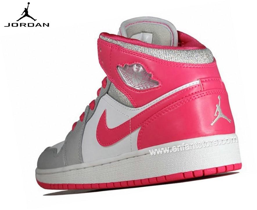 Nike Air Jordan 1 Mid Gs Baskets Pour Femme Dynamic Pink 555112-109 - Nike Air Jordan 1 Mid Gs Baskets Pour Femme Dynamic Pink 555112-109-2