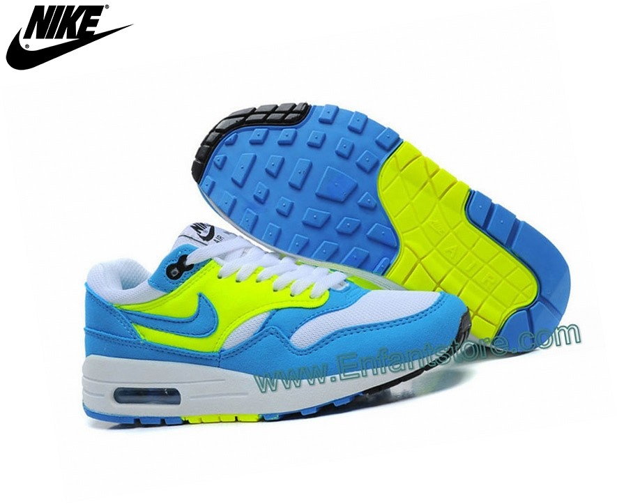 Nike Femme Sneakers Wmns Air Max 1 Essential Gs Bleu/Jaune - Nike Femme Sneakers Wmns Air Max 1 Essential Gs Bleu/Jaune-2