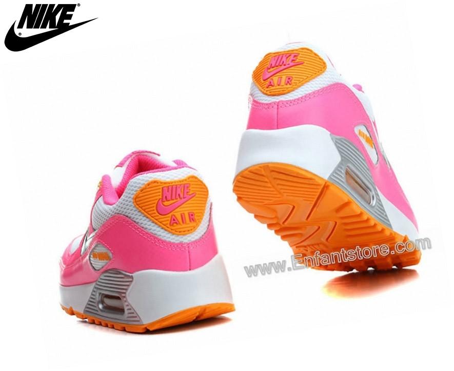 Nike Homme Chaussures De Running Wmns Air Max 90 Le Gs Blanc Rose Glow 345017-120 - Nike Homme Chaussures De Running Wmns Air Max 90 Le Gs Blanc Rose Glow 345017-120-4