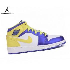 Air Jordan 1 Mid Gs Baskets Pour Femme White/Violet/Yellow 555112-118