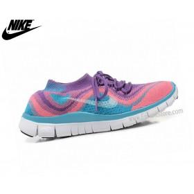 Nike Free Flyknit Chaussures Homme De Running Free Rose/Bleu 615805-Id5