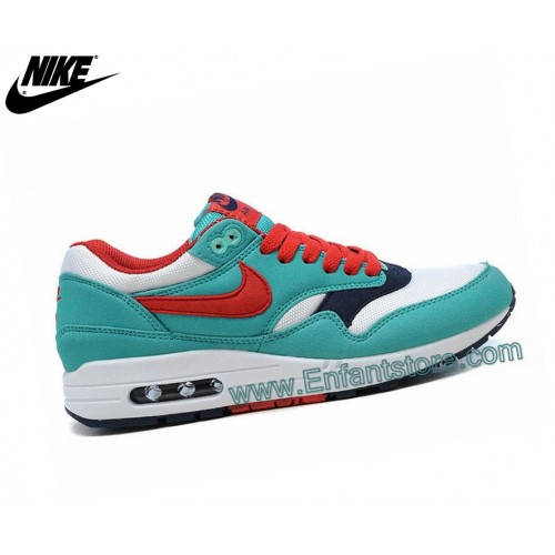 Nike Wmns Air Max 1 Baskets Pour Femme Essential Gs Bleu/Rouge